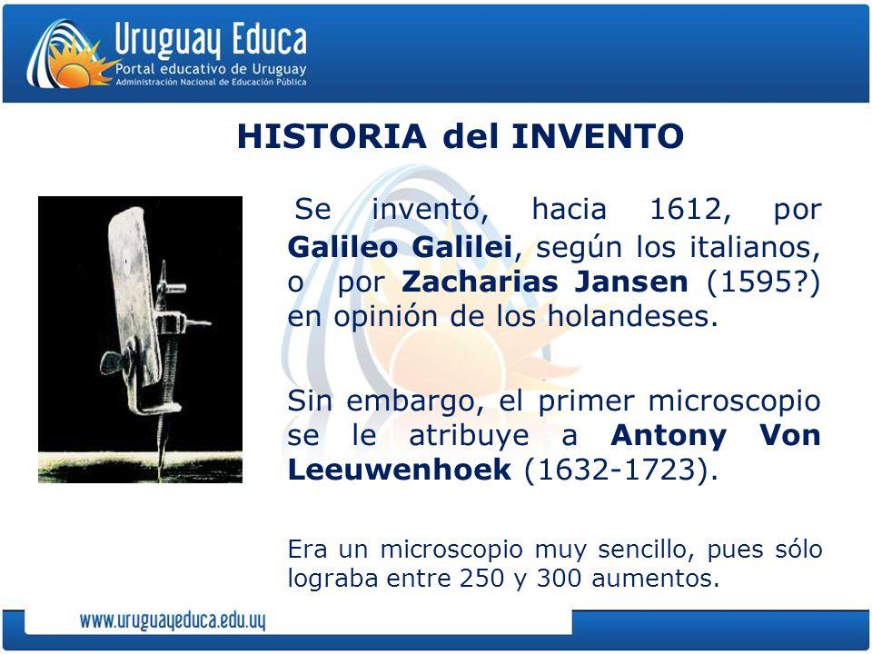 HISTORIA del INVENTO Se inventó, hacia 1612, por Galileo Galilei, según los italianos, o por Zacharias Jansen (1595 ) en opinión de los holandeses.