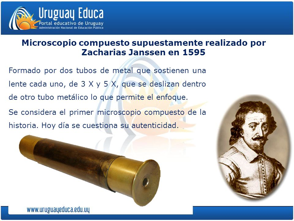 Microscopio compuesto supuestamente realizado por Zacharias Janssen en 1595