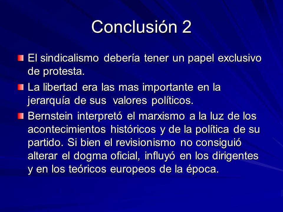Conclusión 2 El sindicalismo debería tener un papel exclusivo de protesta.