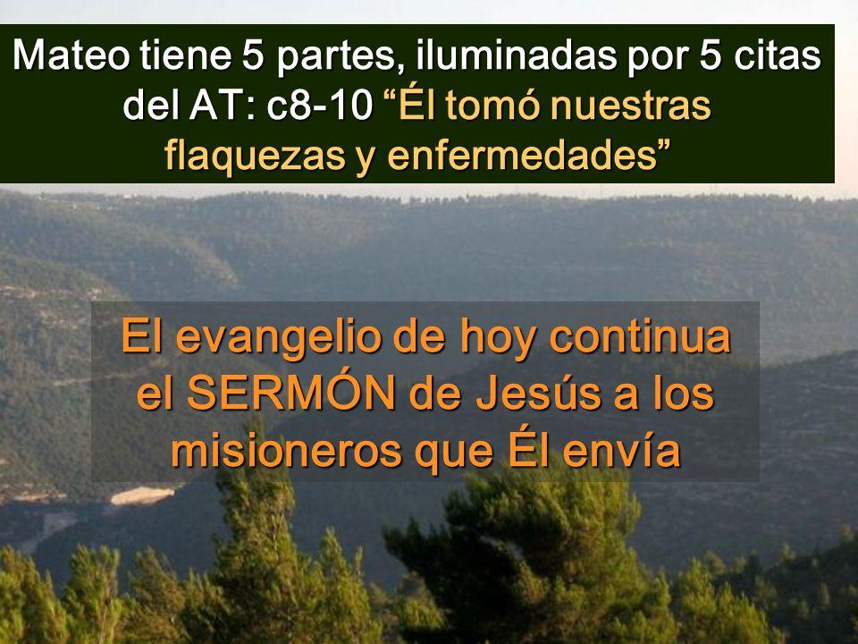 Mateo tiene 5 partes, iluminadas por 5 citas del AT: c8-10 Él tomó nuestras flaquezas y enfermedades