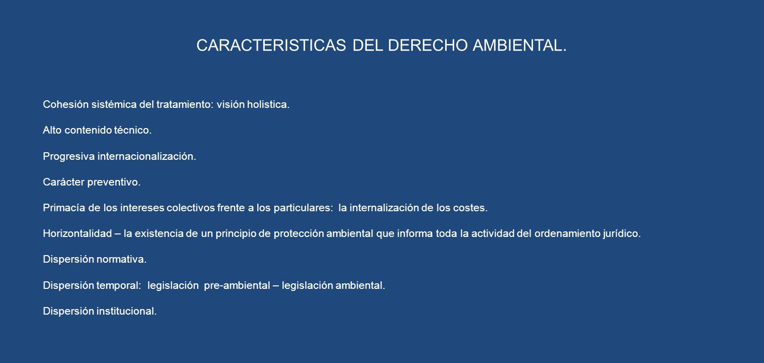 CARACTERISTICAS DEL DERECHO AMBIENTAL.