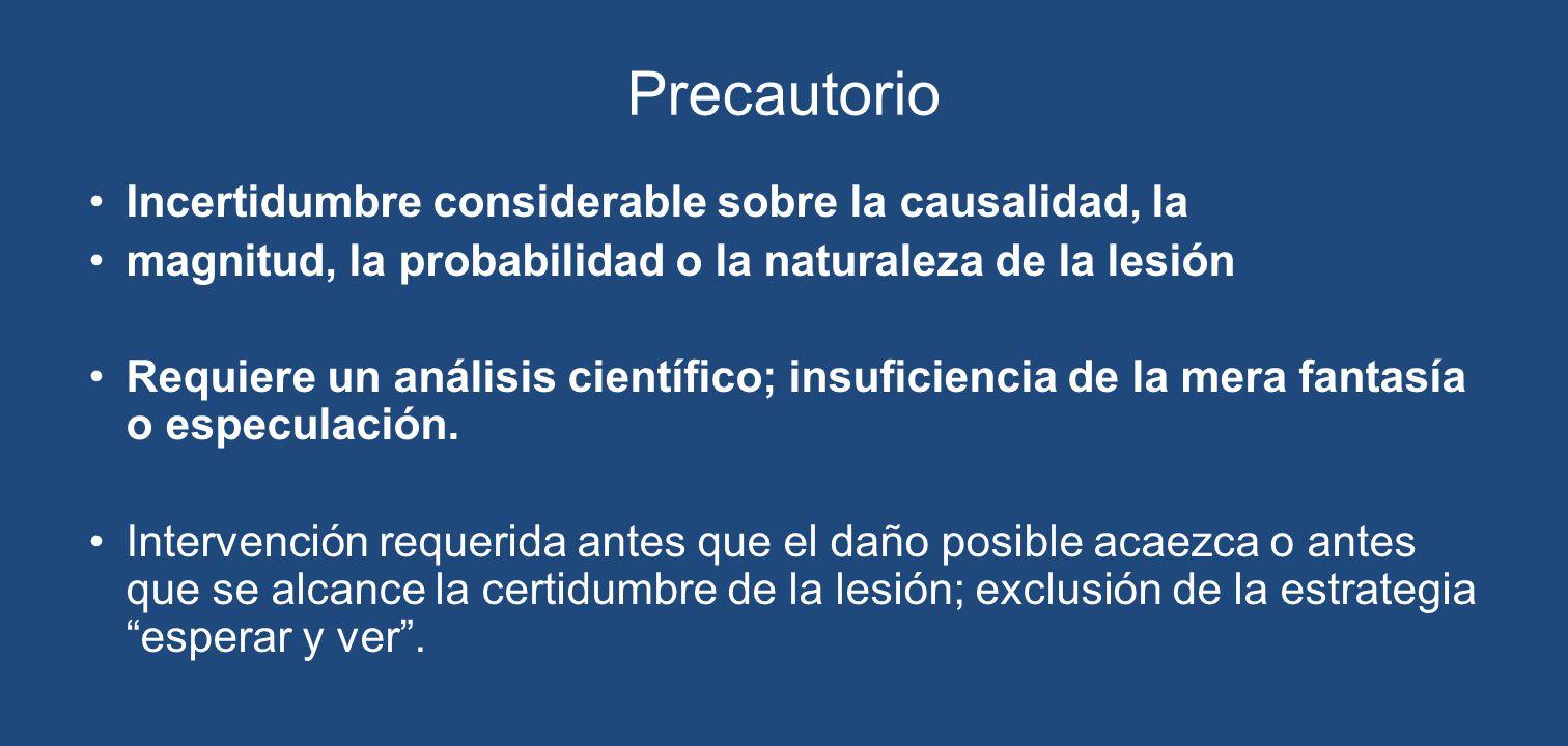 Precautorio Incertidumbre considerable sobre la causalidad, la