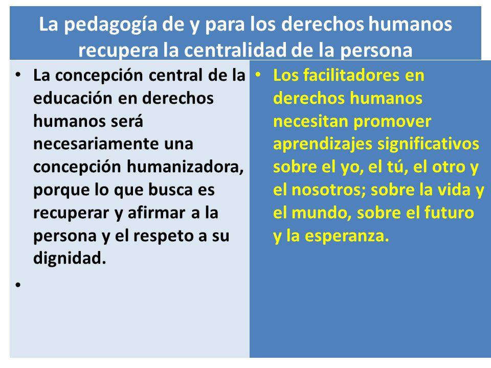 La pedagogía de y para los derechos humanos recupera la centralidad de la persona