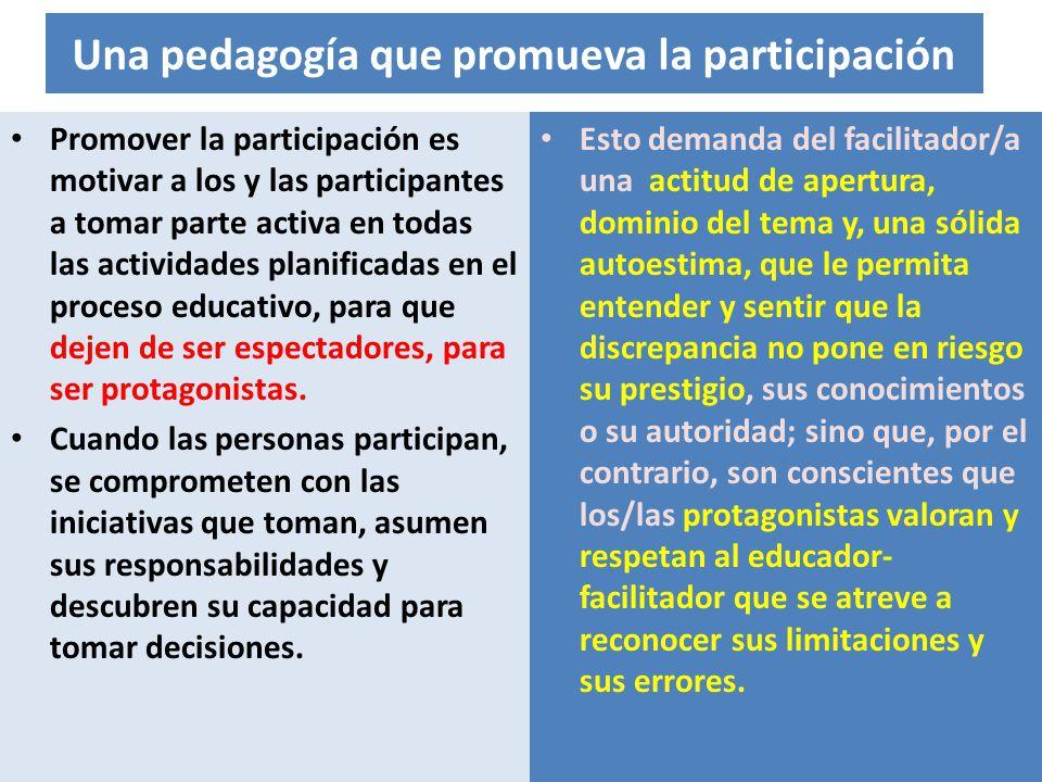 Una pedagogía que promueva la participación