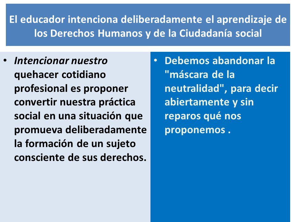 El educador intenciona deliberadamente el aprendizaje de los Derechos Humanos y de la Ciudadanía social