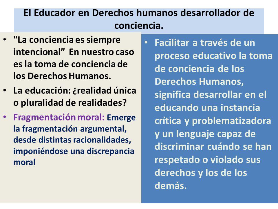 El Educador en Derechos humanos desarrollador de conciencia.