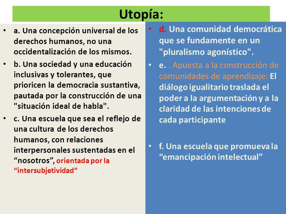 Utopía: d. Una comunidad democrática que se fundamente en un pluralismo agonístico .