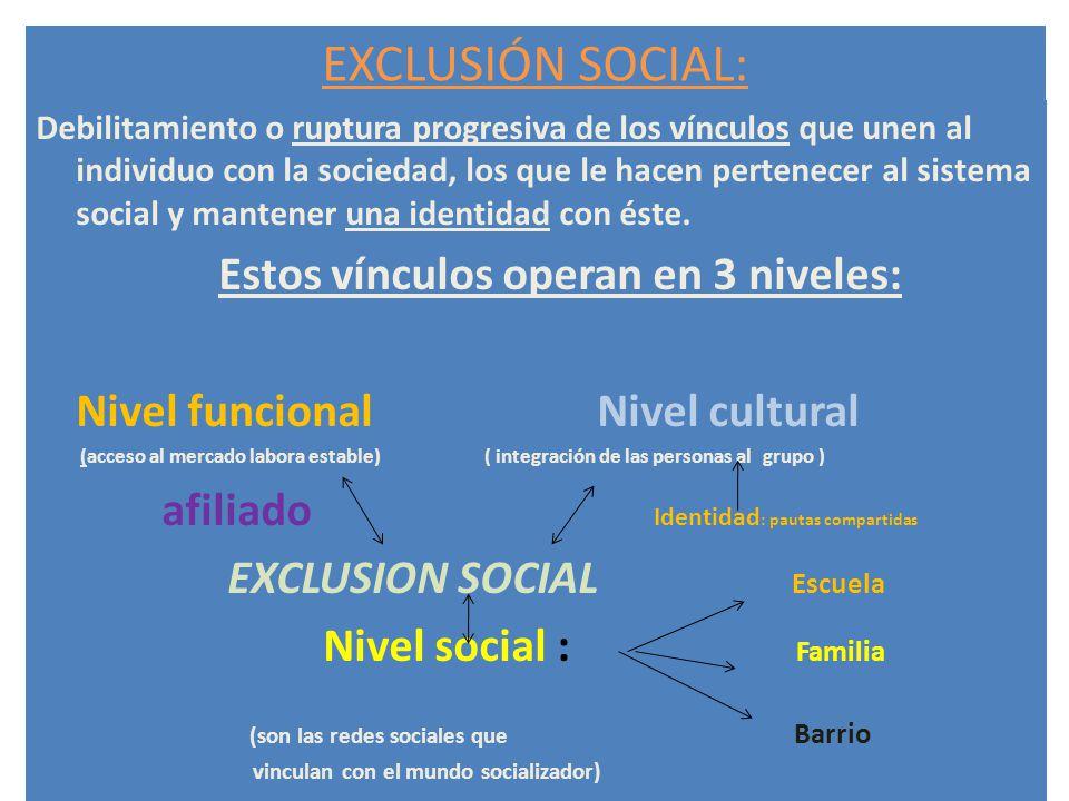 EXCLUSIÓN SOCIAL: Estos vínculos operan en 3 niveles: