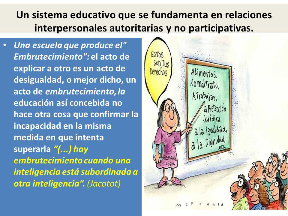 Un sistema educativo que se fundamenta en relaciones interpersonales autoritarias y no participativas.