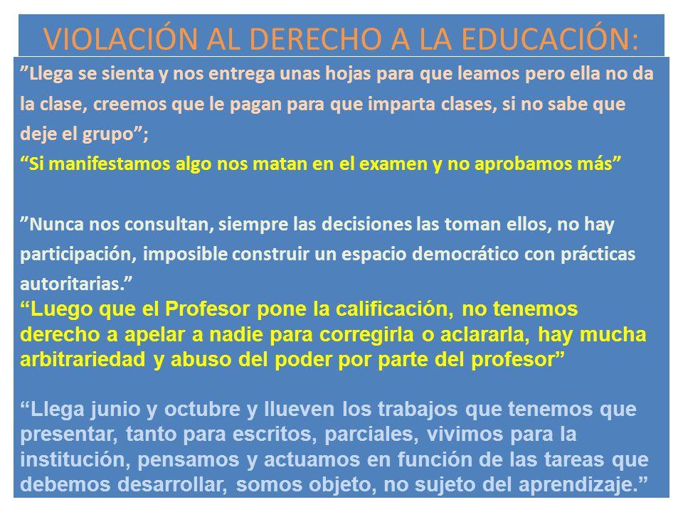 VIOLACIÓN AL DERECHO A LA EDUCACIÓN: