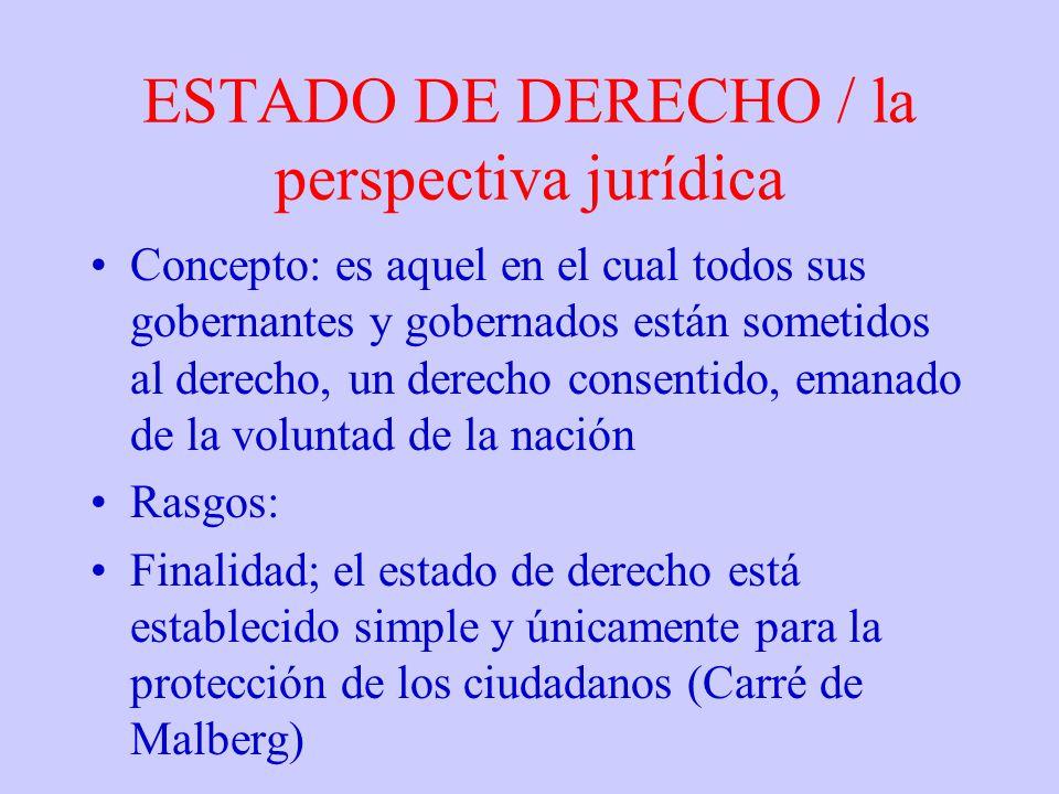 ESTADO DE DERECHO / la perspectiva jurídica