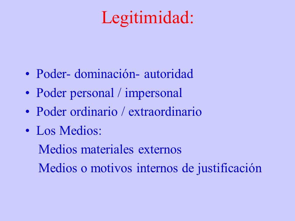 Legitimidad: Poder- dominación- autoridad Poder personal / impersonal