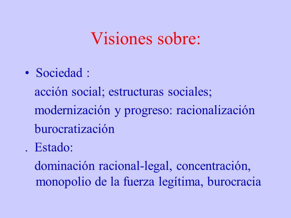 Visiones sobre: Sociedad : acción social; estructuras sociales;