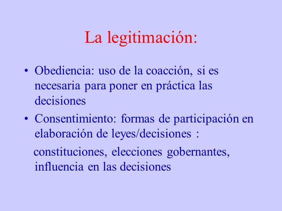 La legitimación: Obediencia: uso de la coacción, si es necesaria para poner en práctica las decisiones.