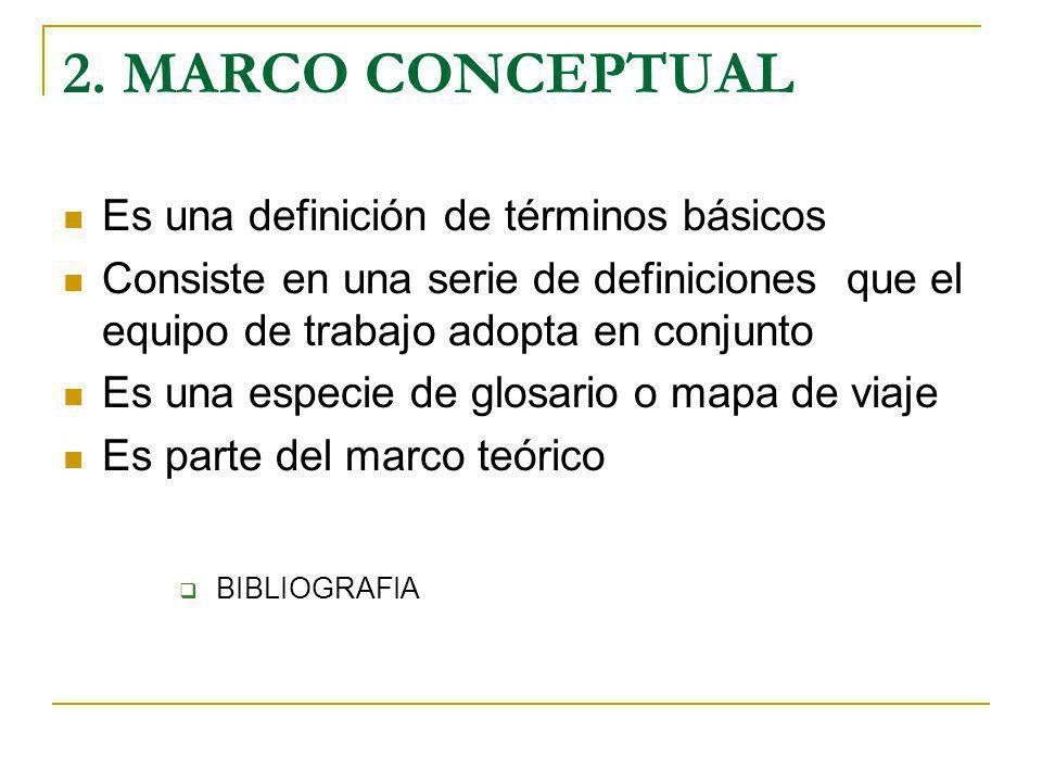2. MARCO CONCEPTUAL Es una definición de términos básicos