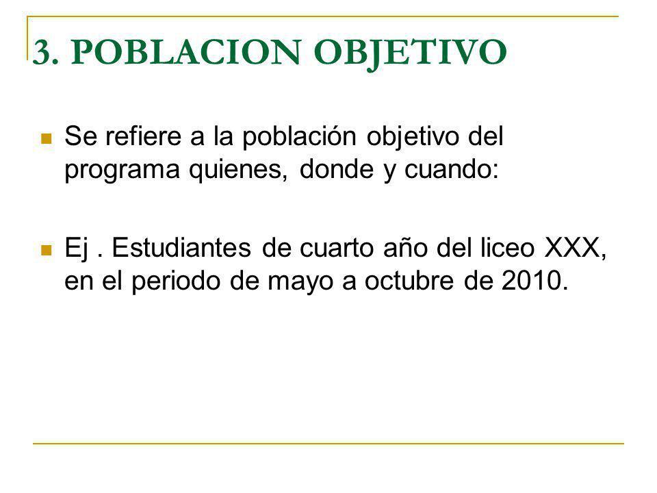 3. POBLACION OBJETIVO Se refiere a la población objetivo del programa quienes, donde y cuando: