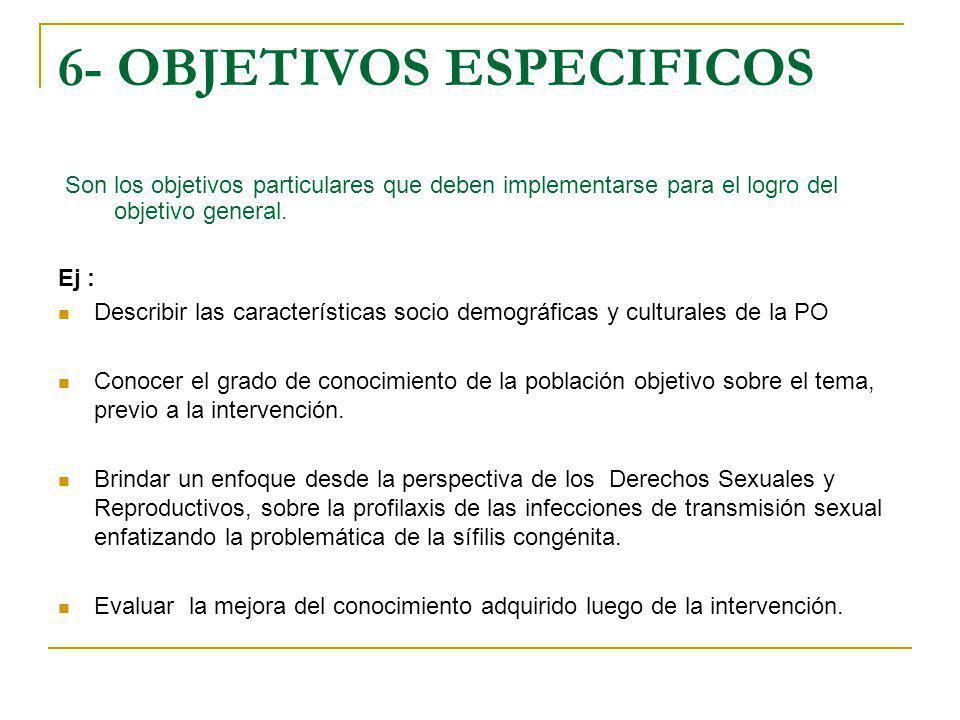 6- OBJETIVOS ESPECIFICOS
