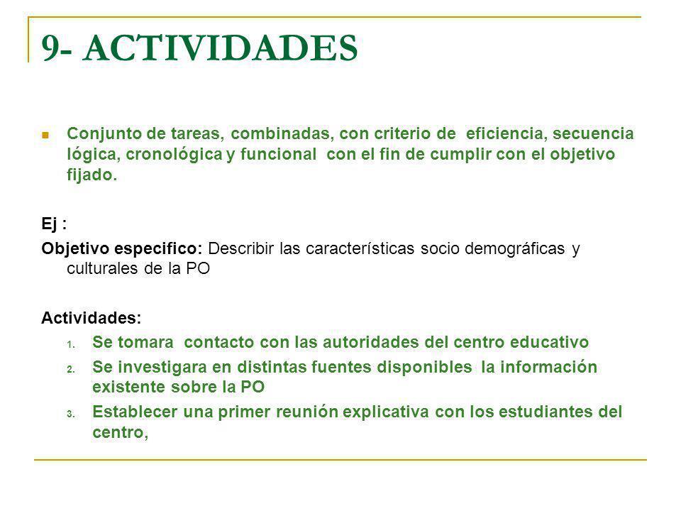 9- ACTIVIDADES