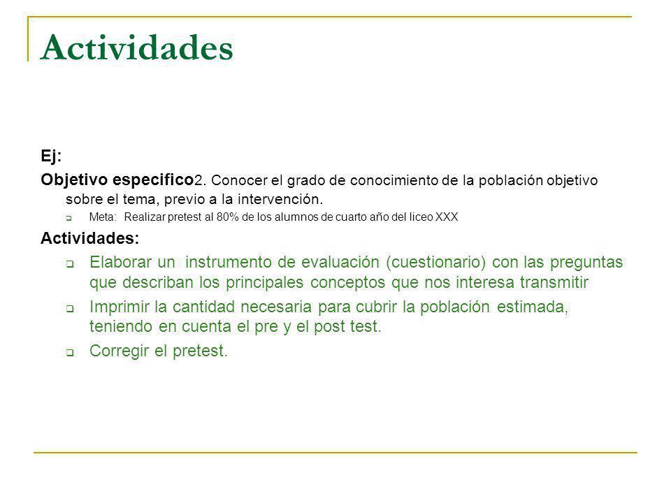 Actividades Ej: Objetivo especifico2. Conocer el grado de conocimiento de la población objetivo sobre el tema, previo a la intervención.