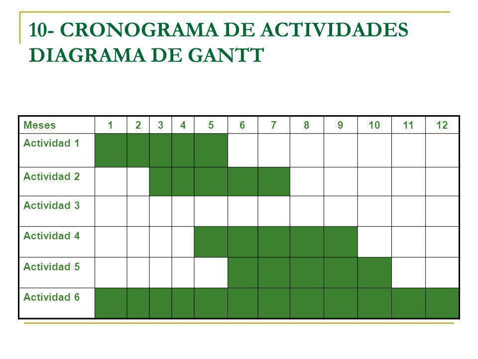 10- CRONOGRAMA DE ACTIVIDADES DIAGRAMA DE GANTT