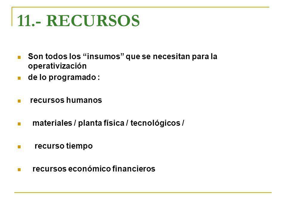 11.- RECURSOS Son todos los insumos que se necesitan para la operativización. de lo programado :