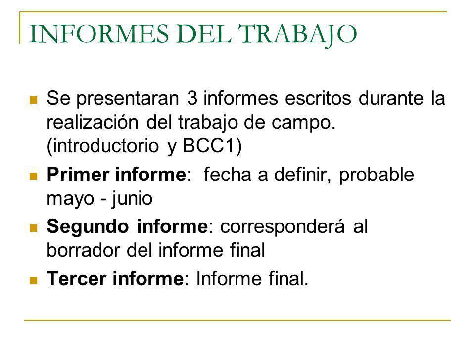 INFORMES DEL TRABAJO Se presentaran 3 informes escritos durante la realización del trabajo de campo. (introductorio y BCC1)