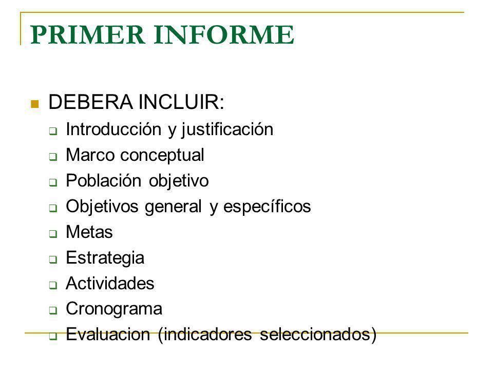 PRIMER INFORME DEBERA INCLUIR: Introducción y justificación