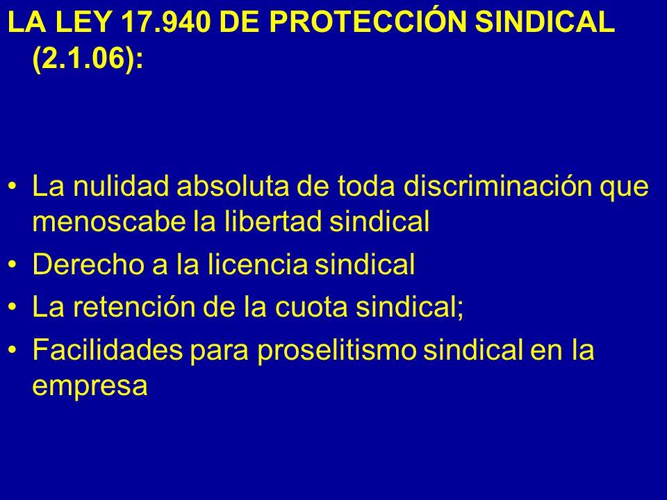 LA LEY 17.940 DE PROTECCIÓN SINDICAL (2.1.06):