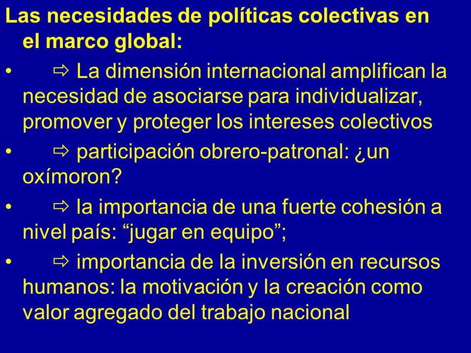 Las necesidades de políticas colectivas en el marco global: