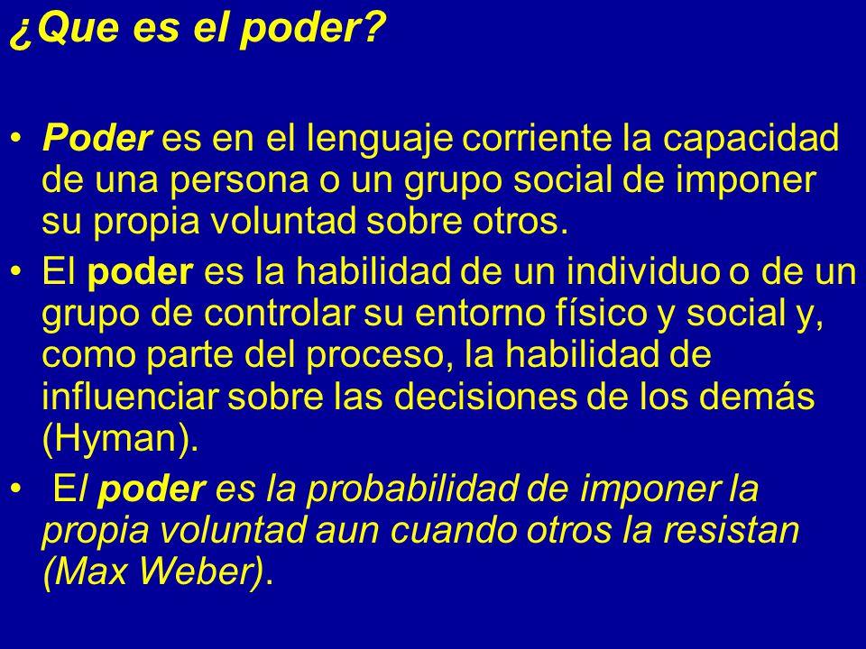 ¿Que es el poder Poder es en el lenguaje corriente la capacidad de una persona o un grupo social de imponer su propia voluntad sobre otros.