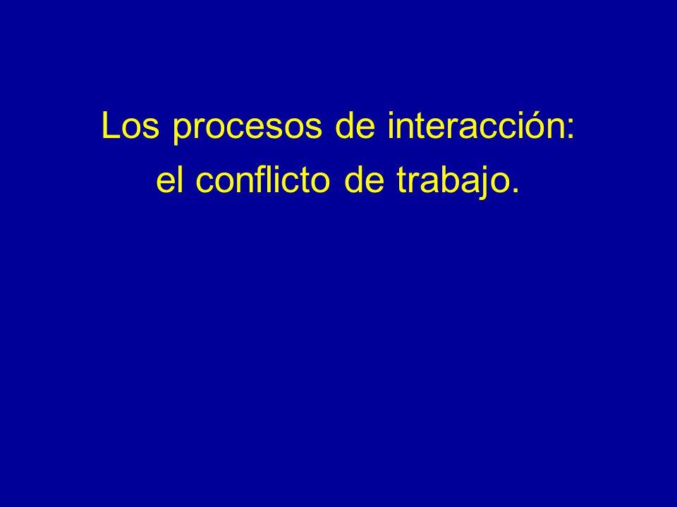 Los procesos de interacción: el conflicto de trabajo.