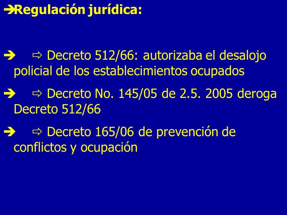 Regulación jurídica:  Decreto 512/66: autorizaba el desalojo policial de los establecimientos ocupados.