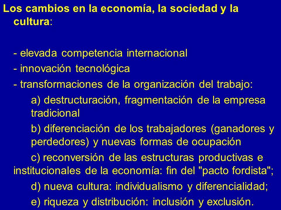 Los cambios en la economía, la sociedad y la cultura:
