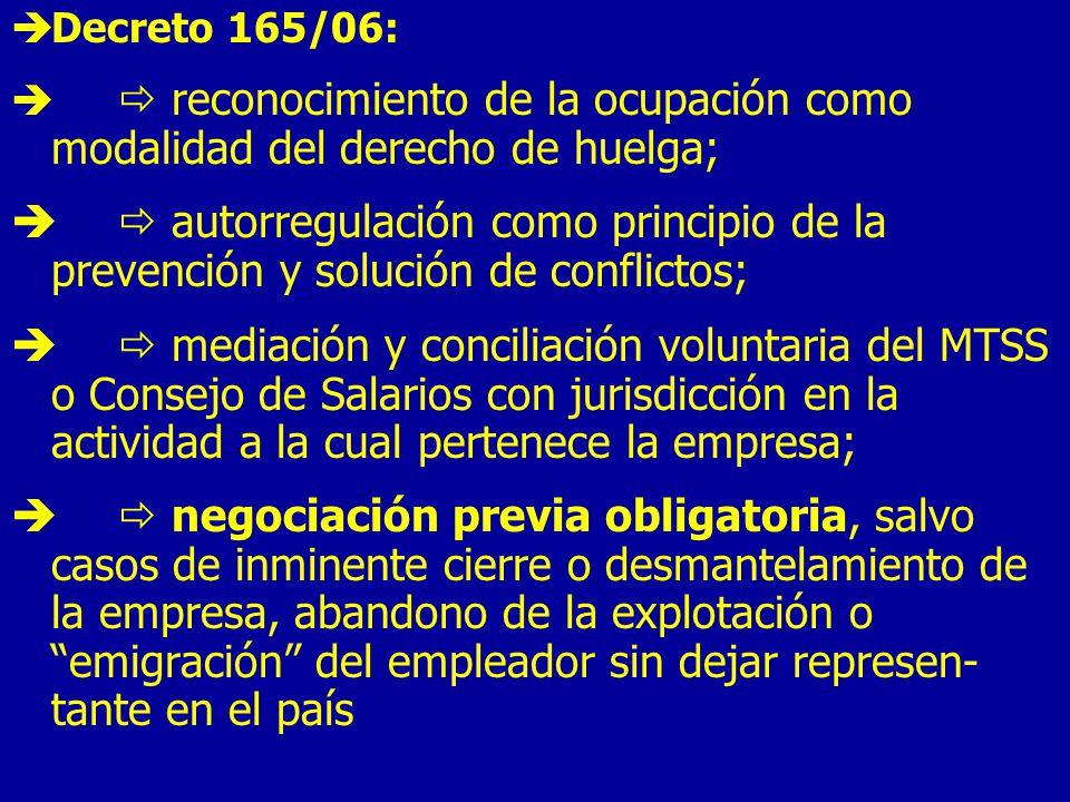 Decreto 165/06:  reconocimiento de la ocupación como modalidad del derecho de huelga;