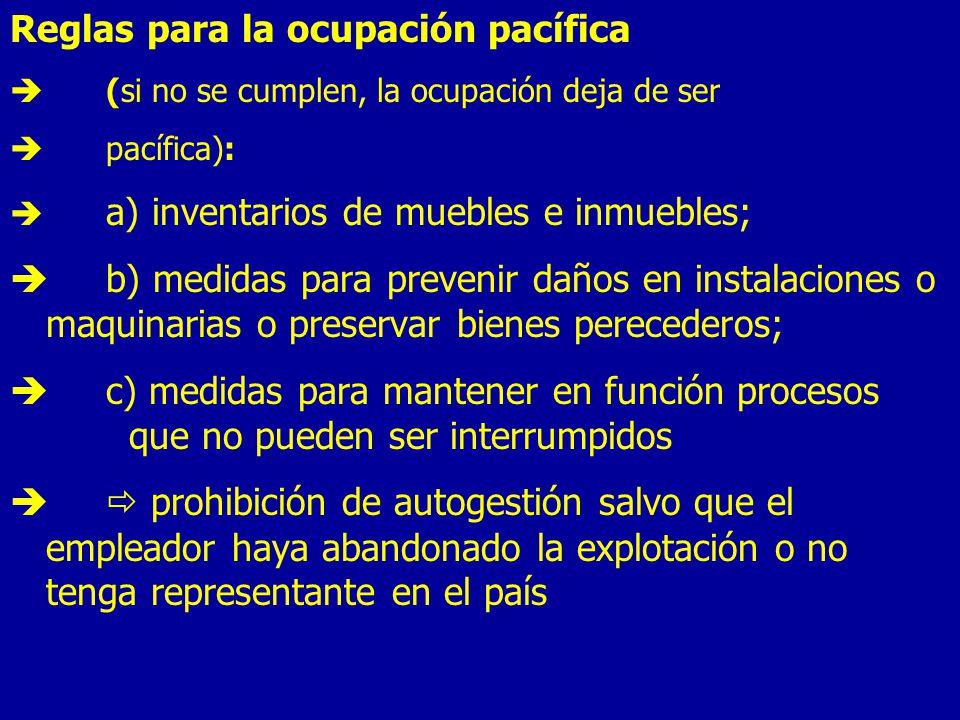 Reglas para la ocupación pacífica
