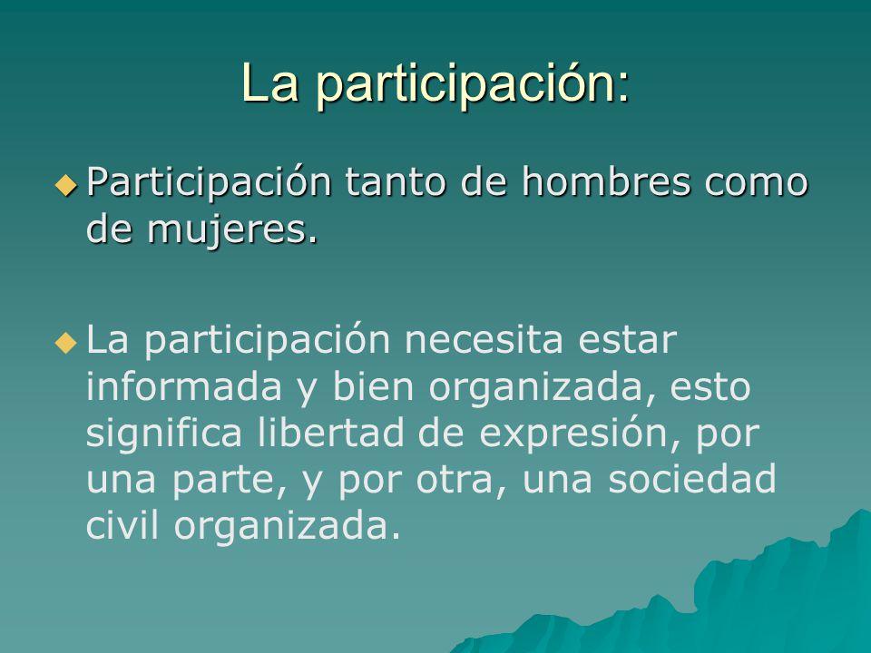 La participación: Participación tanto de hombres como de mujeres.