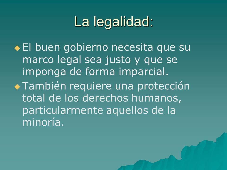 La legalidad: El buen gobierno necesita que su marco legal sea justo y que se imponga de forma imparcial.