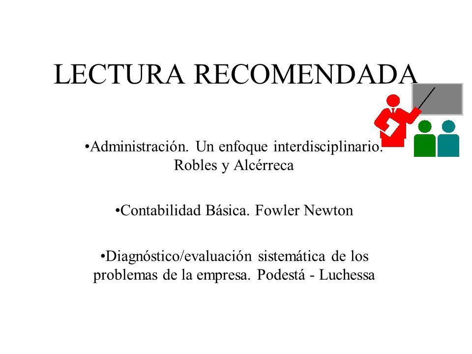 LECTURA RECOMENDADA Administración. Un enfoque interdisciplinario. Robles y Alcérreca. Contabilidad Básica. Fowler Newton.