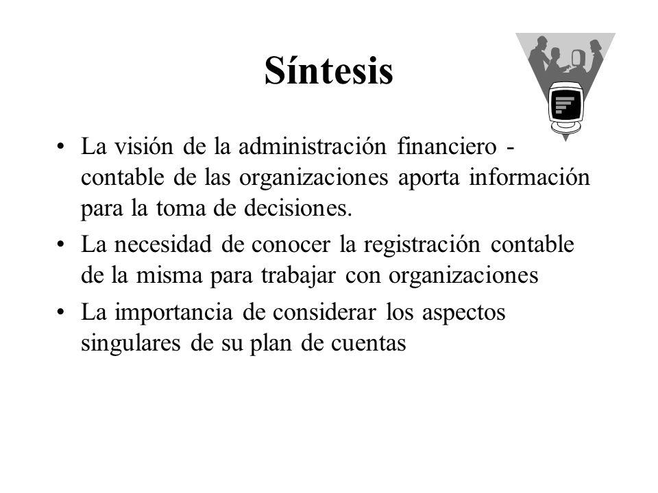 Síntesis La visión de la administración financiero - contable de las organizaciones aporta información para la toma de decisiones.