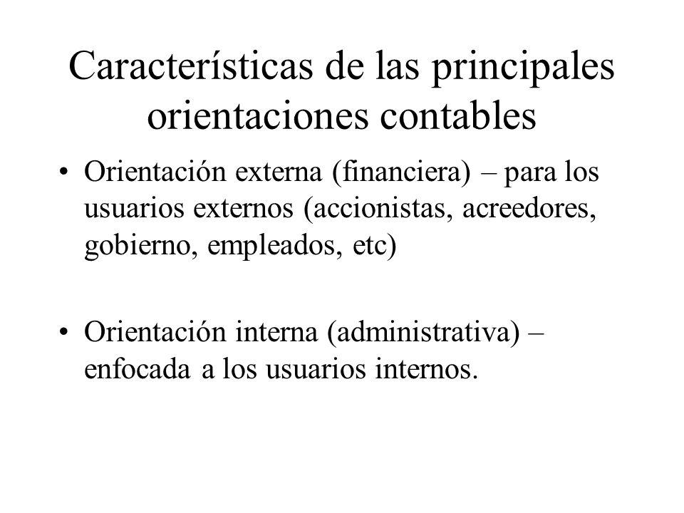 Características de las principales orientaciones contables