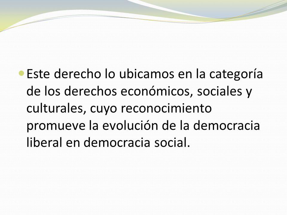 Este derecho lo ubicamos en la categoría de los derechos económicos, sociales y culturales, cuyo reconocimiento promueve la evolución de la democracia liberal en democracia social.
