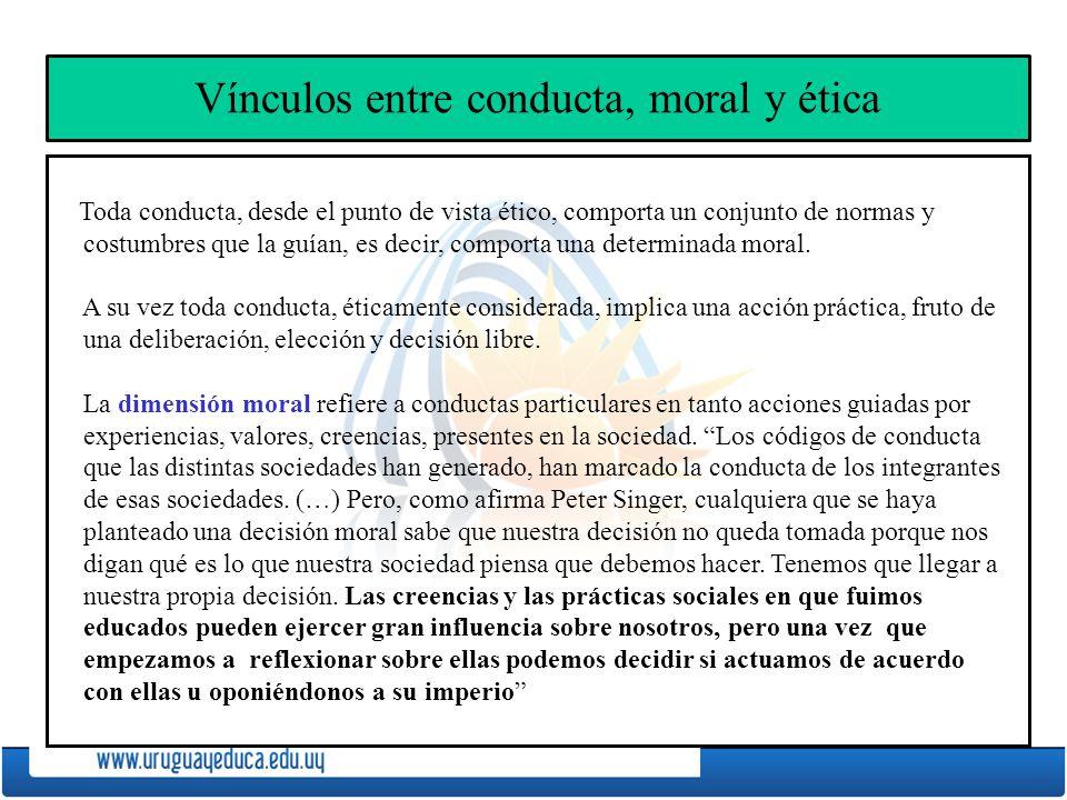 Vínculos entre conducta, moral y ética