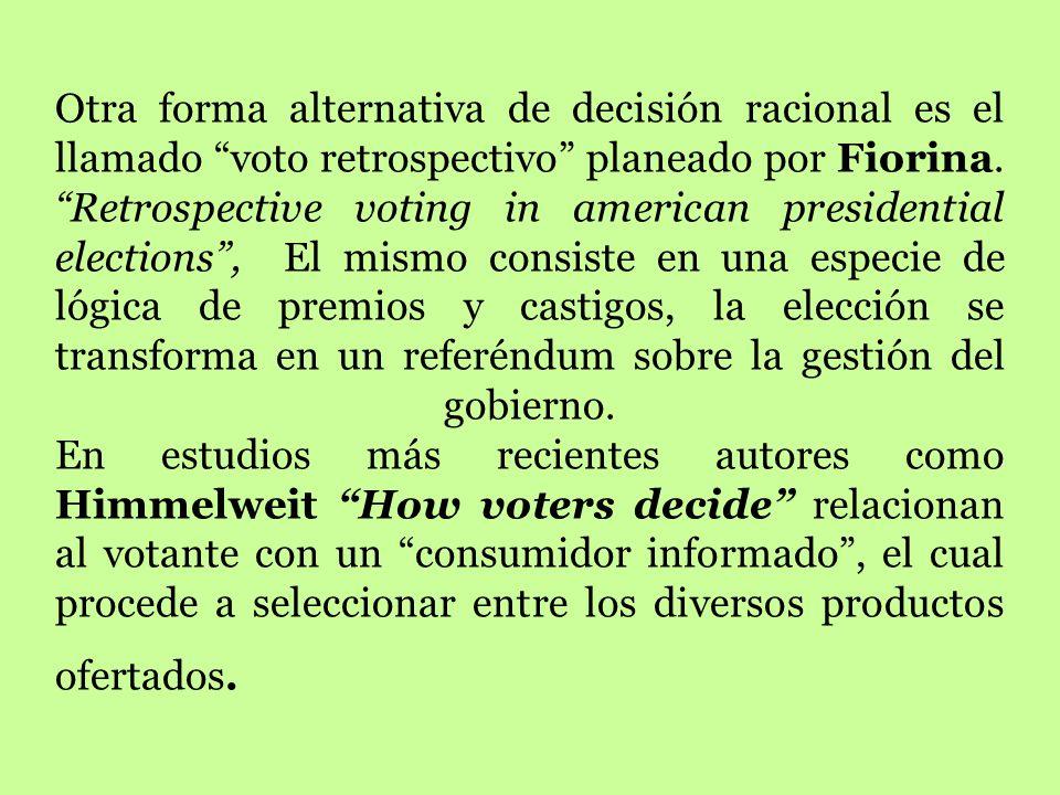 Otra forma alternativa de decisión racional es el llamado voto retrospectivo planeado por Fiorina.