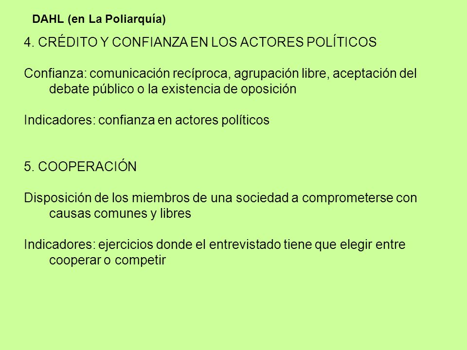4. CRÉDITO Y CONFIANZA EN LOS ACTORES POLÍTICOS