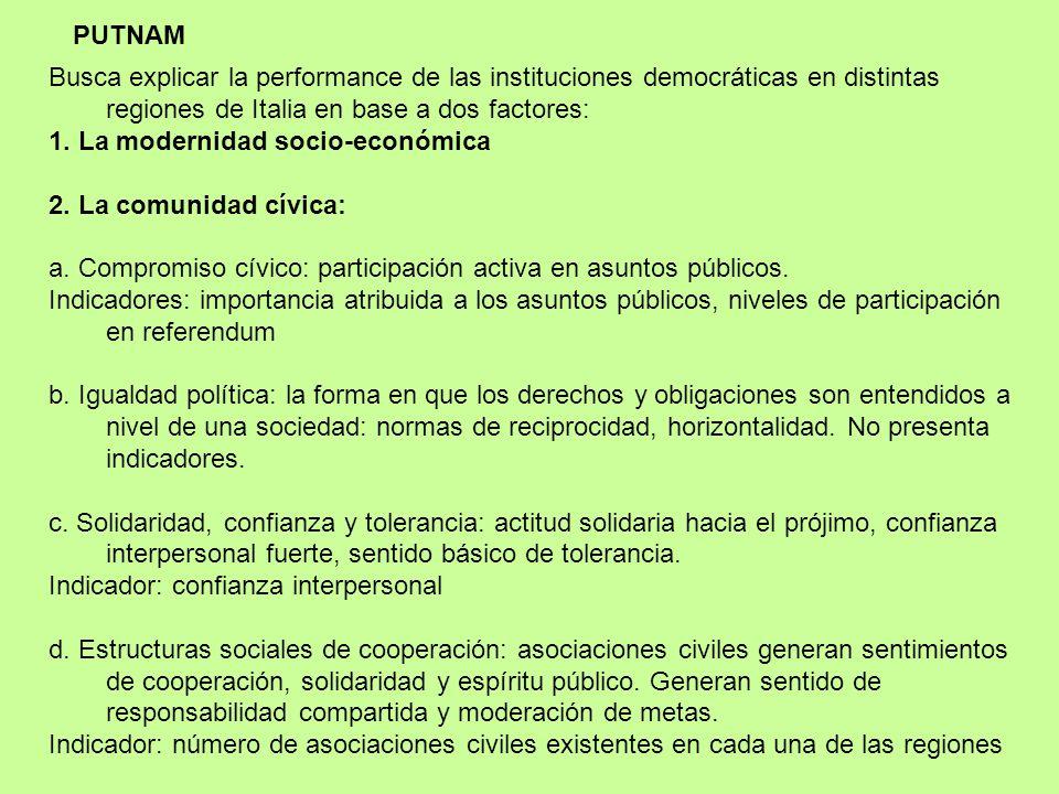 PUTNAM Busca explicar la performance de las instituciones democráticas en distintas regiones de Italia en base a dos factores: