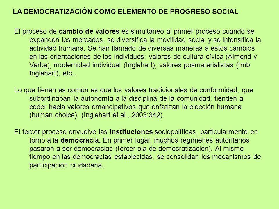 LA DEMOCRATIZACIÓN COMO ELEMENTO DE PROGRESO SOCIAL