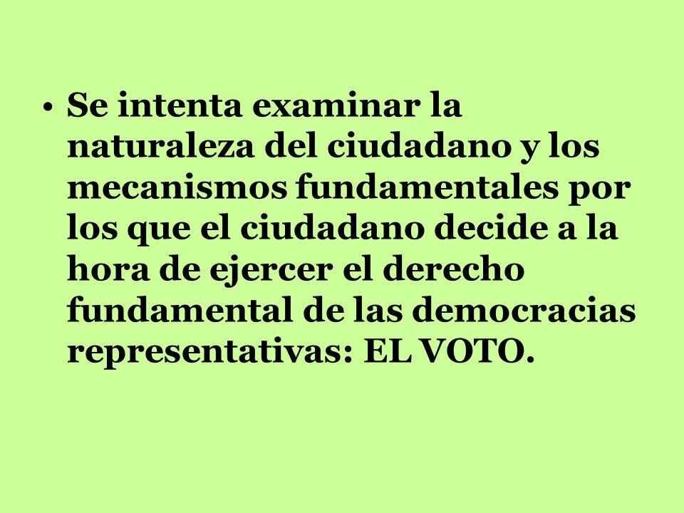 Se intenta examinar la naturaleza del ciudadano y los mecanismos fundamentales por los que el ciudadano decide a la hora de ejercer el derecho fundamental de las democracias representativas: EL VOTO.