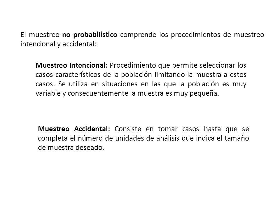 El muestreo no probabilistico comprende los procedimientos de muestreo intencional y accidental: