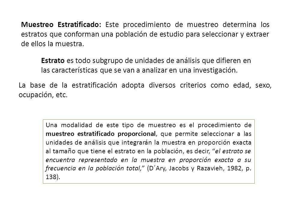 Muestreo Estratificado: Este procedimiento de muestreo determina los estratos que conforman una población de estudio para seleccionar y extraer de ellos la muestra.