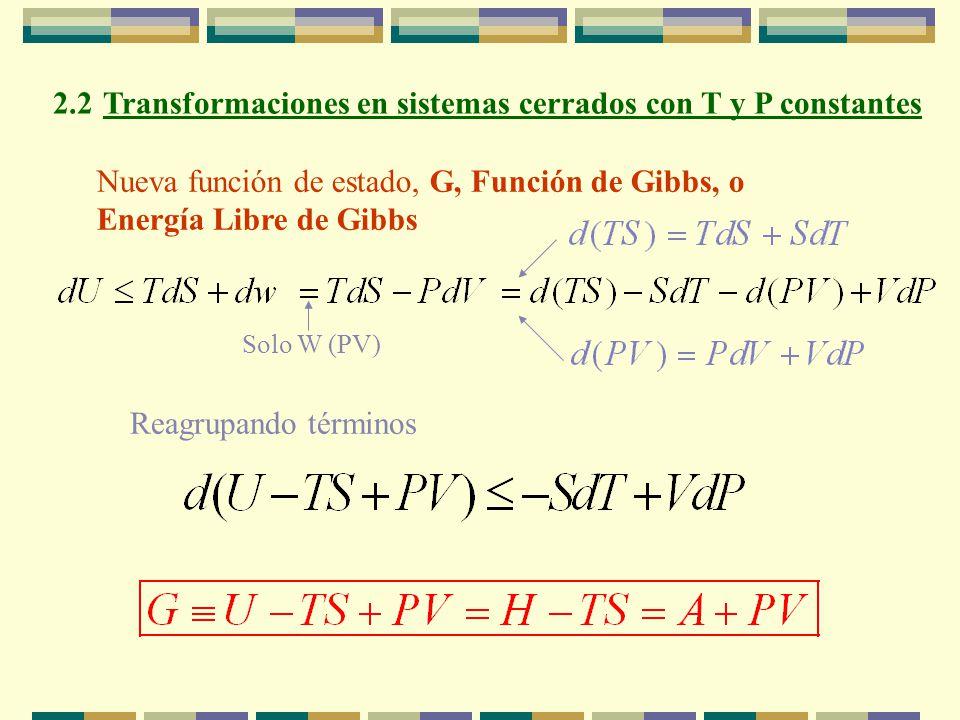 2.2 Transformaciones en sistemas cerrados con T y P constantes
